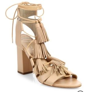 Loeffler Randall Tassle Lace Up Sandals